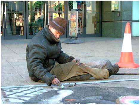街头立体画的创作过程